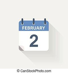 2, fevereiro, calendário, ícone
