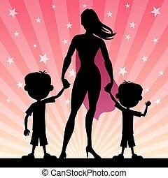 2, figli, mamma super