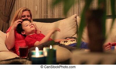 2, film, fils, mère, regarder