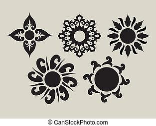 2, fleur, ornements
