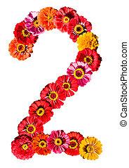 2, flor blanca, número, aislado