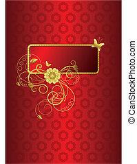 2 floral, tarjeta, ilustración