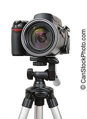 2, foto, moderno, macchina fotografica, treppiede