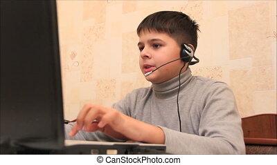 2, garçon, jeu, informatique, jouer