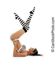 #2, gestreift, unterstützt, unterwäsche, shoulderstand