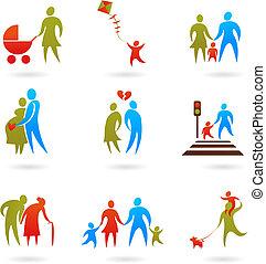 2, -, gezin, iconen