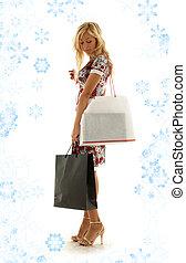 #2, girl, achats, flocons neige