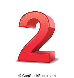 2, glanzend, getal, rood, 3d