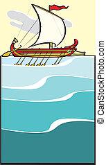 #2, grec, soir, navire guerre