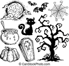 2, halloween, dessins, collection