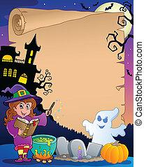 2, halloween scena, pergamin