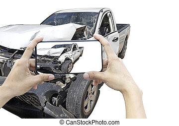 2 hand of woman hold smartphone for take photo of front white color car accident. Save with cliping path