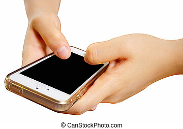 2 Hands holding mobile smart phone with blank screen. Isolated on white.
