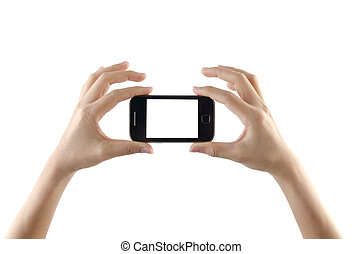 2 hands holding small smartphone