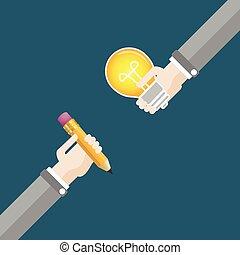 2 Hands Pencil Bulb