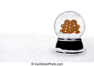 2 Happy Gingerbread People Inside a Snowglobe