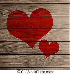 2 heart on Wooden plank brown texture background