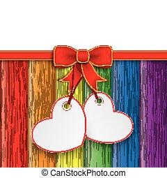 2 Heart Stickers Rainbow Wood Red Ribbon