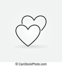 2 Hearts line icon. Vector Love concept outline symbol