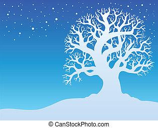 2, hiver arbre, neige
