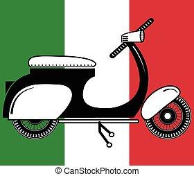 2, italien, vendange, type, scooter