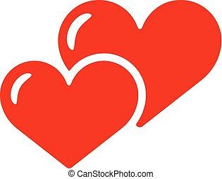 2 jádro, ikona, vektor, isolated., láska, červeň, smbol.