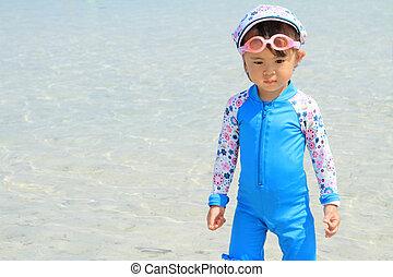 (2, japonaise, années, old), girl, plage
