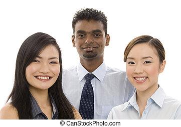 2, joven, equipo negocio