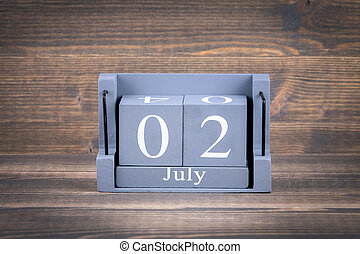 2 july wooden, square calendar