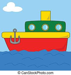 2, karikatúra, csónakázik