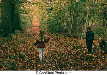 2 kids in forest