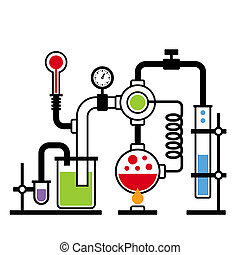 2, laboratoire, infographic, ensemble, chimie