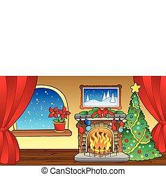 2, lareira, cartão natal