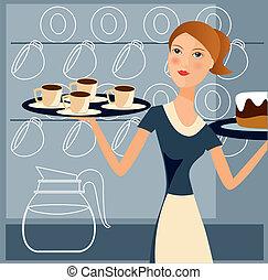 2, lavorativo, cameriera