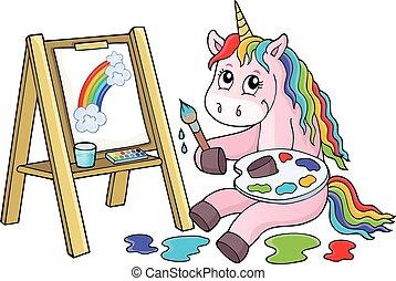 2, licorne, thème, image, peinture