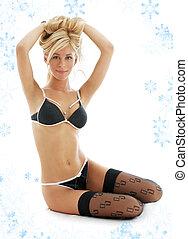 #2, lingerie, witn, black , blonde , snowflakes, mooi en gracieus