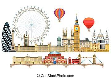 2, londyn, sylwetka na tle nieba, wektor