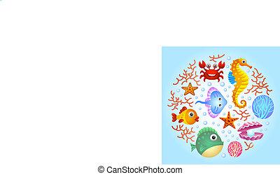 2, mare, fondo, creature