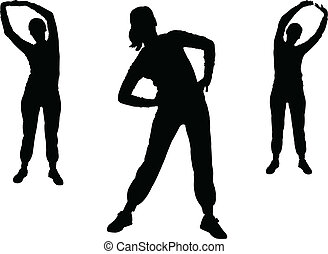 2, meisje, vector, -, aerobics