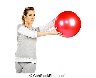 2, menina, bola, exercitar, vermelho