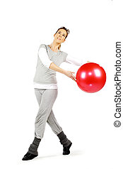 2, menina, bola, tocando, vermelho