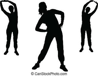 2, menina, vetorial, -, aeróbica