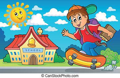 2, menino, escola, tema, imagem