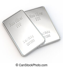 2 Mini Silver Bars - 1 ounce - two small silver bars with...
