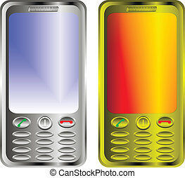 2 mobile phones isolated on white