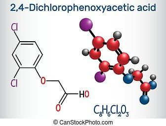 (2, molecule., molécule, chimique, formule, modèle, acide, 2...