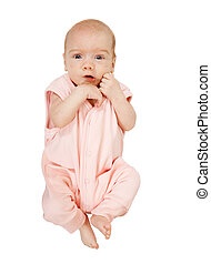 2 month baby. Isolated over white background