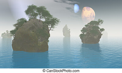 2 moons over alien landscape