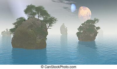 2 moons over alien landscape