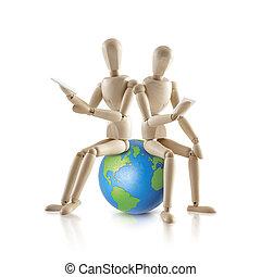 2, mundo, modelo, madeira, sentar
